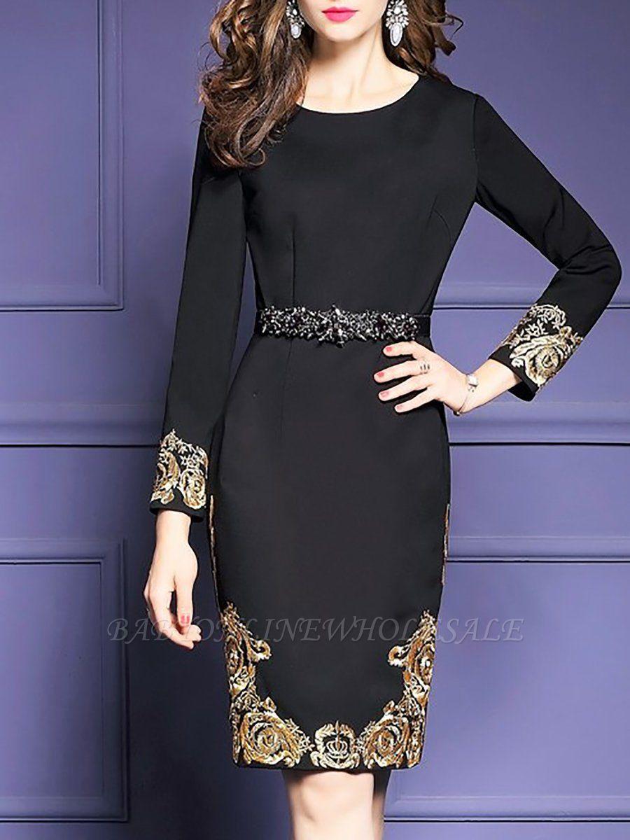Black Midi Dress Bodycon Party Dress Long Sleeve Elegant Embroidered Floral Dress