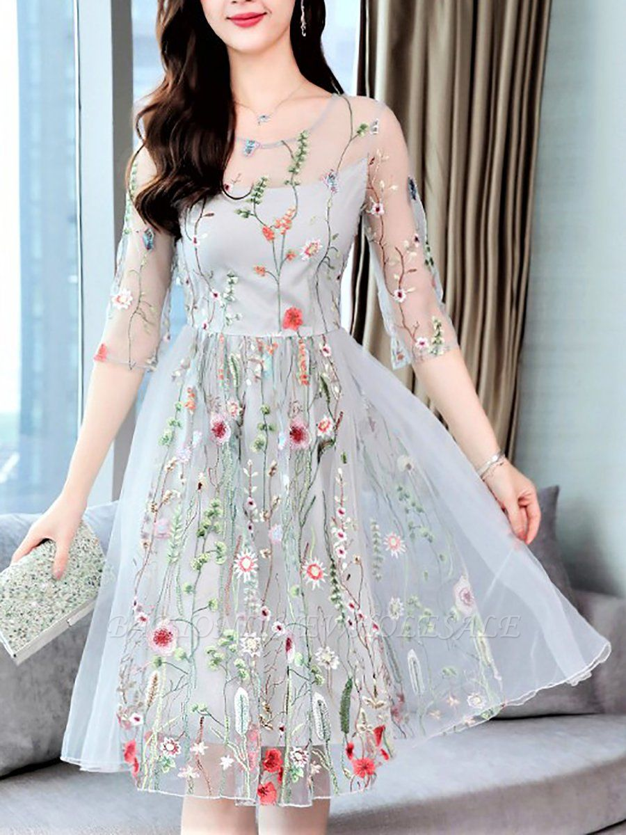 Midi Dress A-line Party Dress Half Sleeve Casual Embroidered Floral Dress