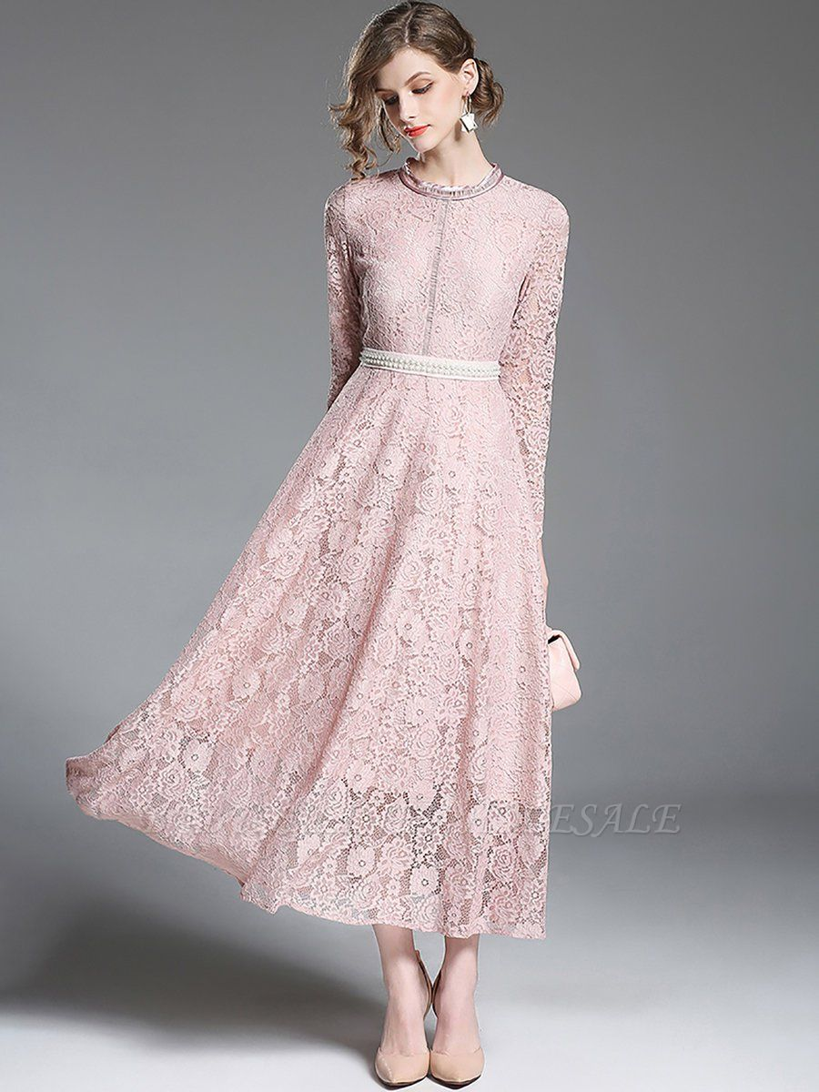 A-line Casual Guipure lace Solid Maxi Dress