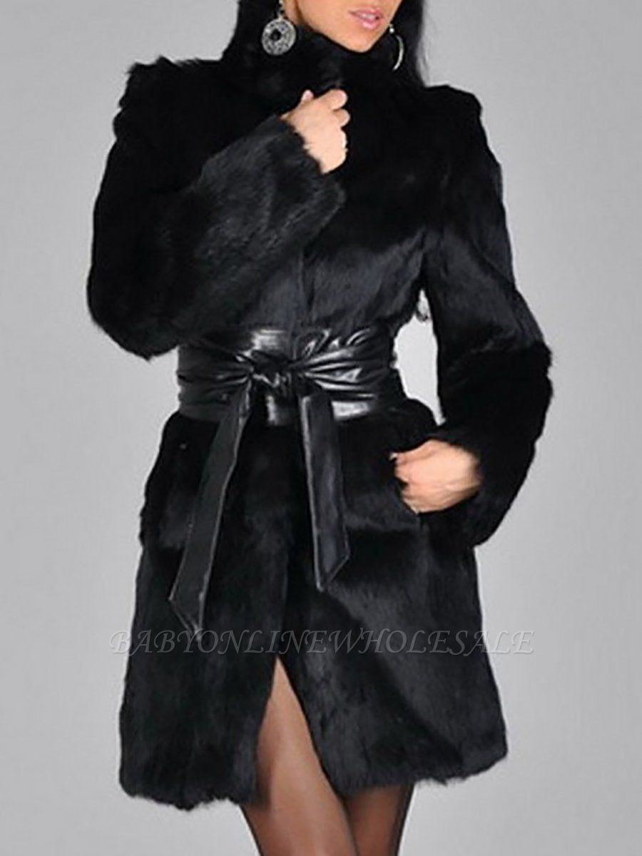 Black Long Sleeve Pockets Casual Fur and Shearling Coat
