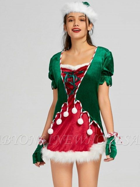 Christmas Lace Up Mini Dress with Hat and Gloves