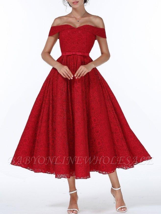 Weihnachtsfeier lange Kleider für Heimkehr rot aus der Schulter Spitze Midi Swing Abendkleider Abendkleid
