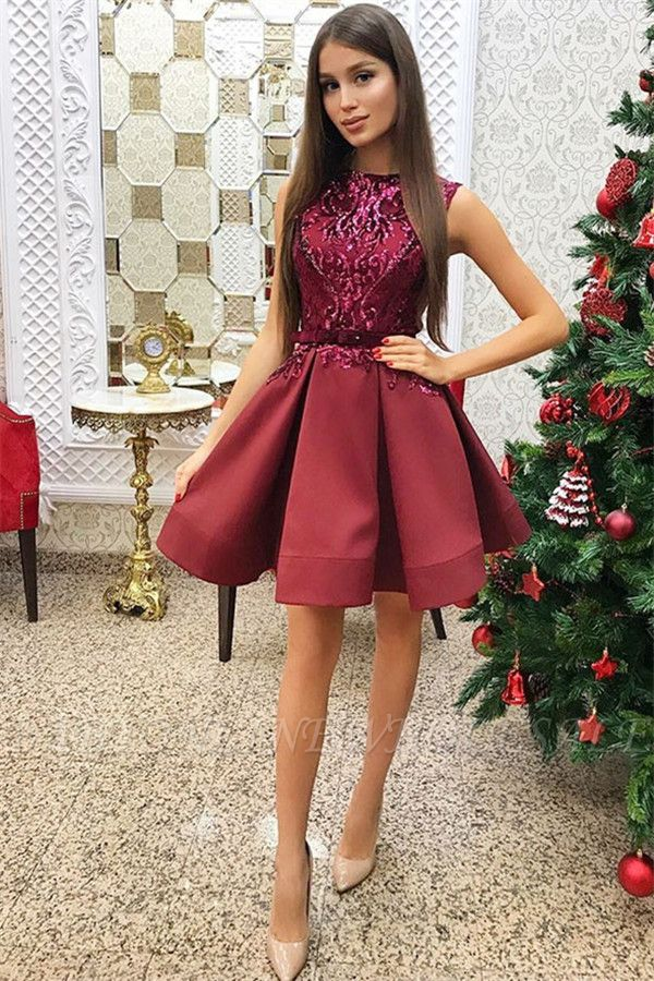 Red Sleeveless Short Homecoming Dresses |  Sequins Homecoming Dress