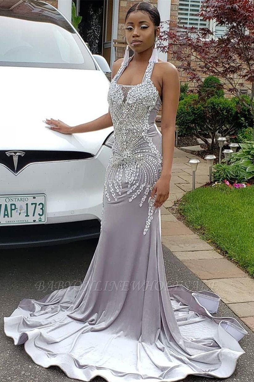 Halter Sparkle Crystal Sliver Prom Dresses | Fit and Flare Alluring Backless Evening Gowns