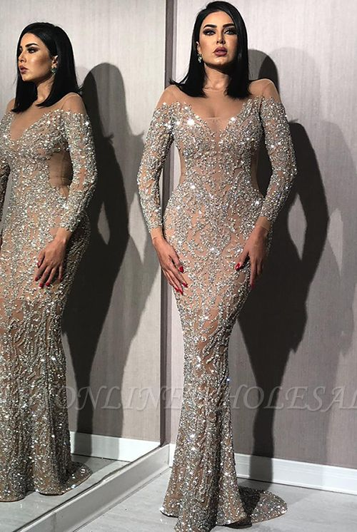 Sparkling Silver Beading Crystals Prom Dresses with Sleeves | Nude Inner Lining Sexy Mermaid Evening Dresses BC1612