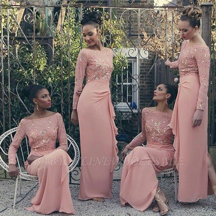 Bateau Long Sleeve Bridesmaid Dresses Cheap Pink Chiffon Long Sexy Dress for Maid of Honor