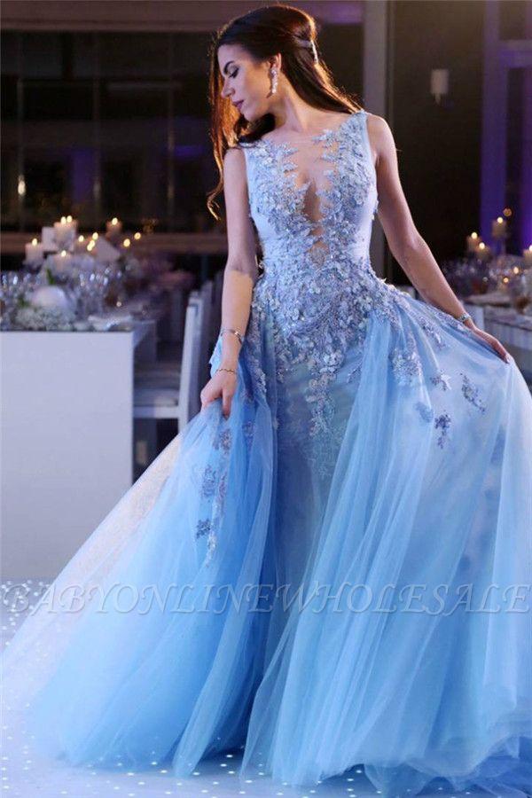 Apliques de encaje azul cielo vestidos de baile baratos 2021 | Vestido de noche de abalorios de tul sexy sin mangas de perlas