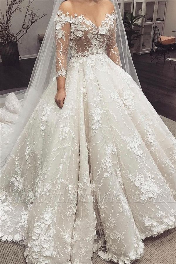 2/3 Sleeve Off-the-shoulder Ball Gown Wedding Dress with Train