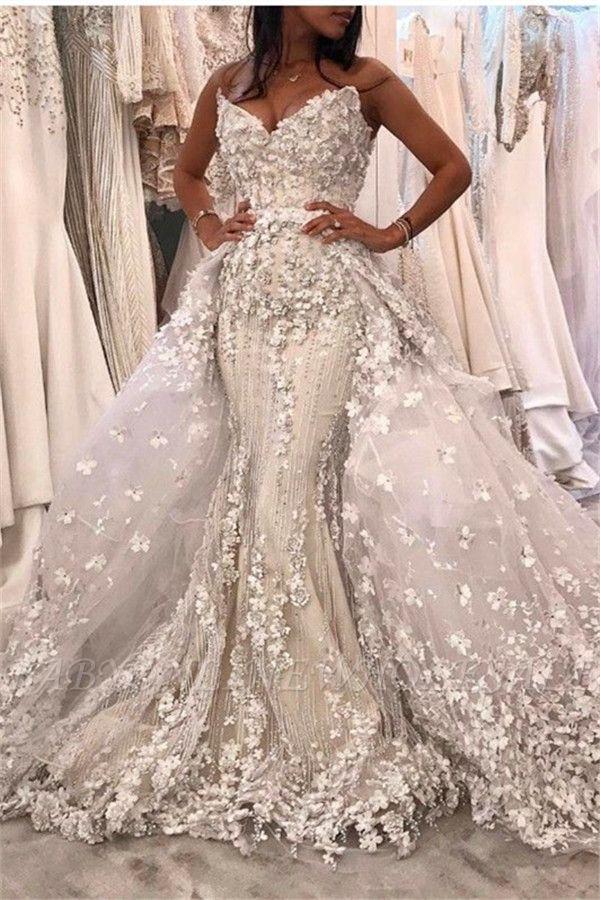 Spaghetti Strap White Mermaid Luxury Wedding Dress with Lace Overskirt