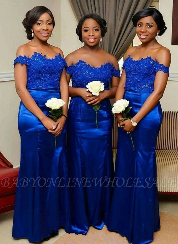 Royal Blue Mermaid Bridesmaid Dress | Off-the-Shoulder Long Wedding Party Dress