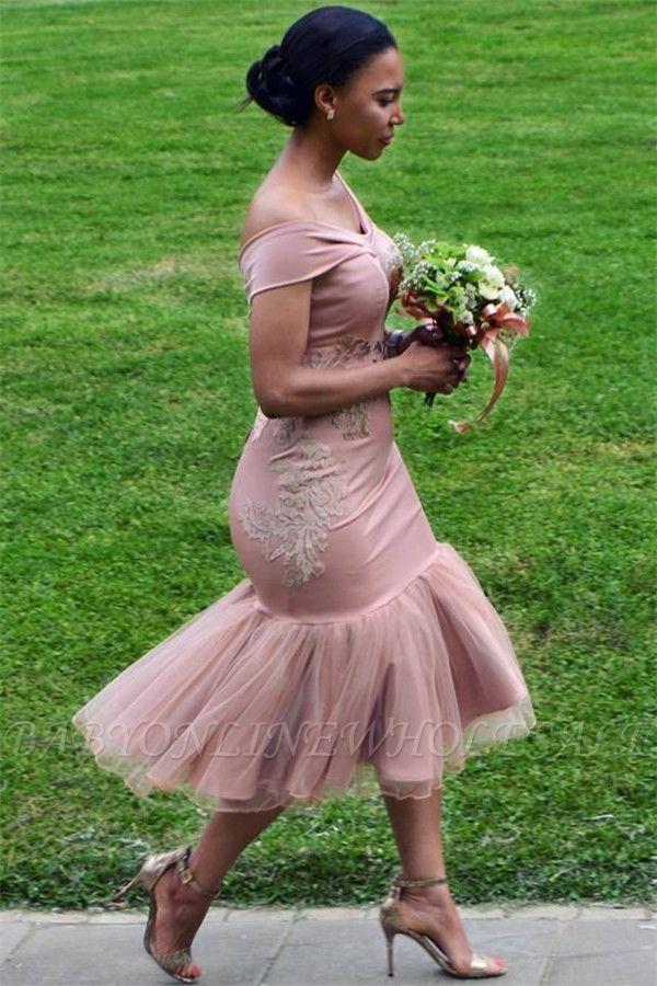 Weg von der Schulter Rosa Brautjungfernkleider Günstige Online | Appliques Mermaid Sexy Kurzes Brautjungfernkleid 2021 BA9508