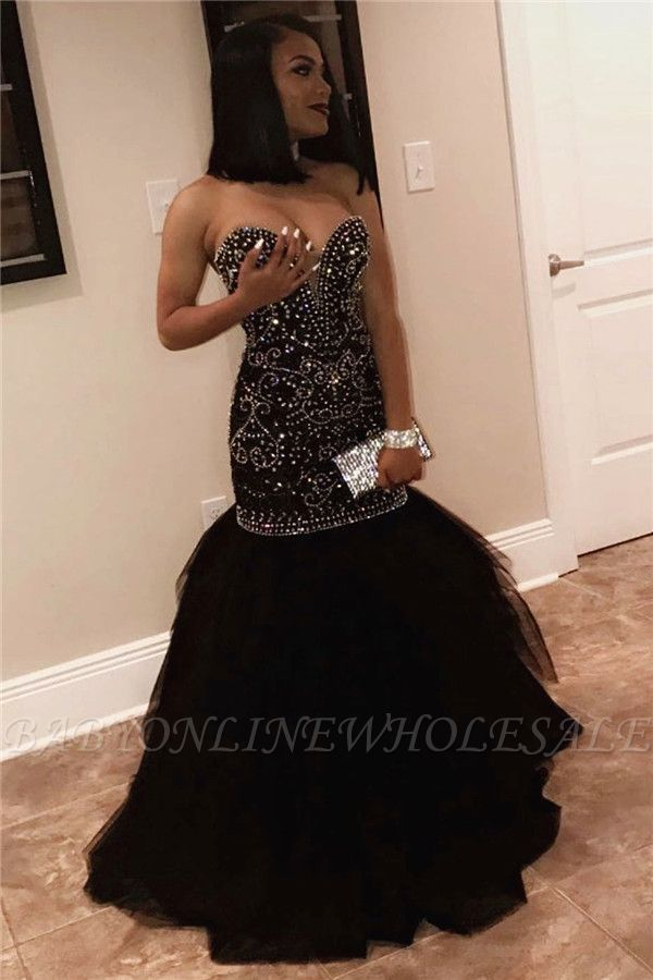 Sexy Sweetheart Beads Prom Dresses | Mermaid Black Sequins Cheap Evening Gown FB0275