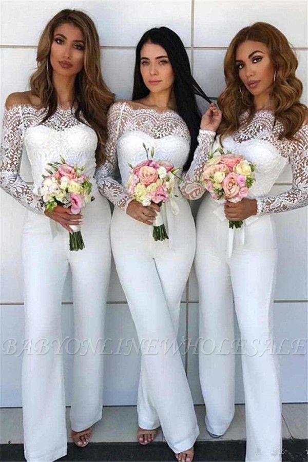 Schulterfrei Spitze Overall Brautjungfernkleider | Lange Ärmel Brautjungfer Kleid Günstig