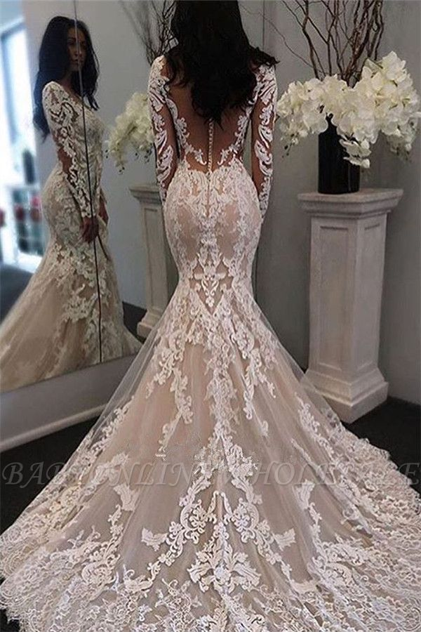 Long Sleeve Lace Mermaid Btidal Gowns Gorgeous Retro Sheer Tulle Wedding Dress Babyonlinewholesale