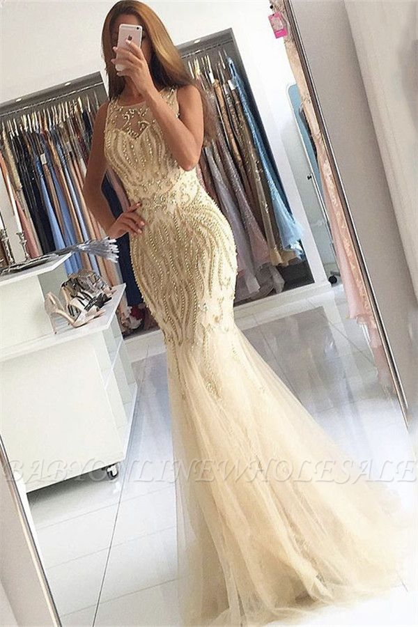 Beaded Crystals Mermaid Tulle Sexy Evening Gown Champagne Affordable Prom Dress  BA6133