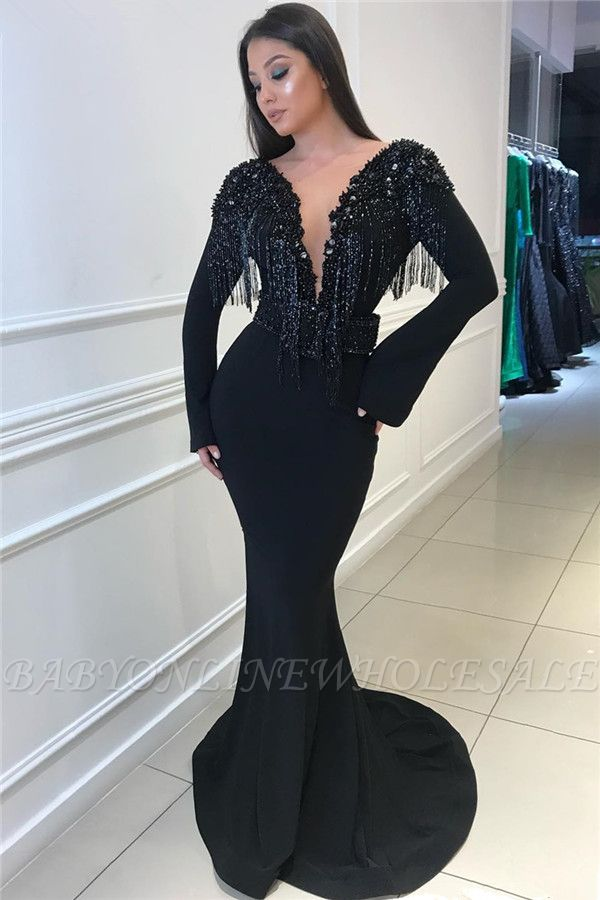 Deep Sexy V-neck Open Back Black Prom Dresses   Fit and Flare Elegant Long Sleeve Beads Tassels Evening Gown