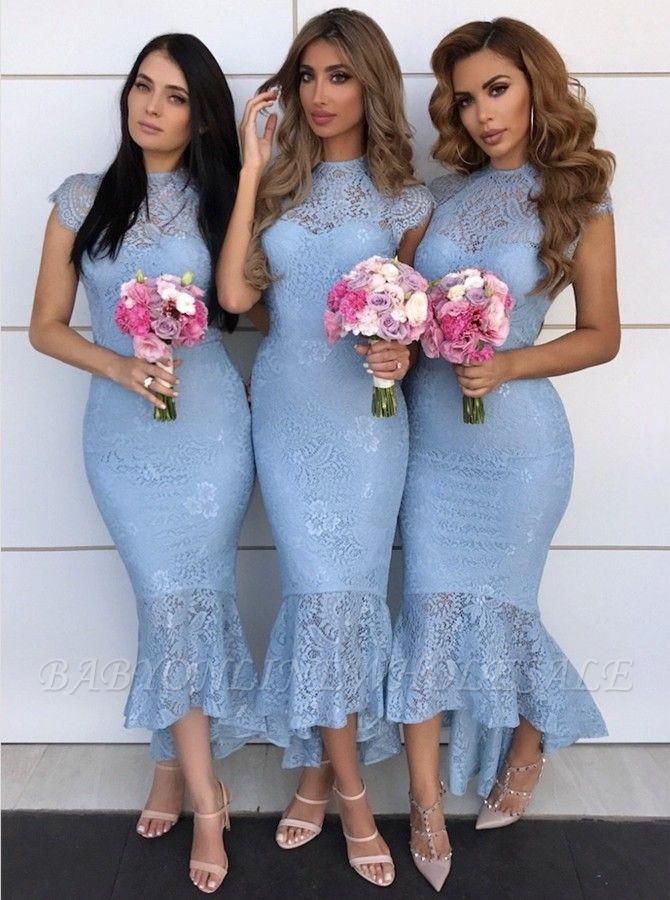 High Neck Lace Brautjungfernkleider Günstige 2021   Flügelärmel Meerjungfrau Trauzeugin Kleider mit Fischschwanz