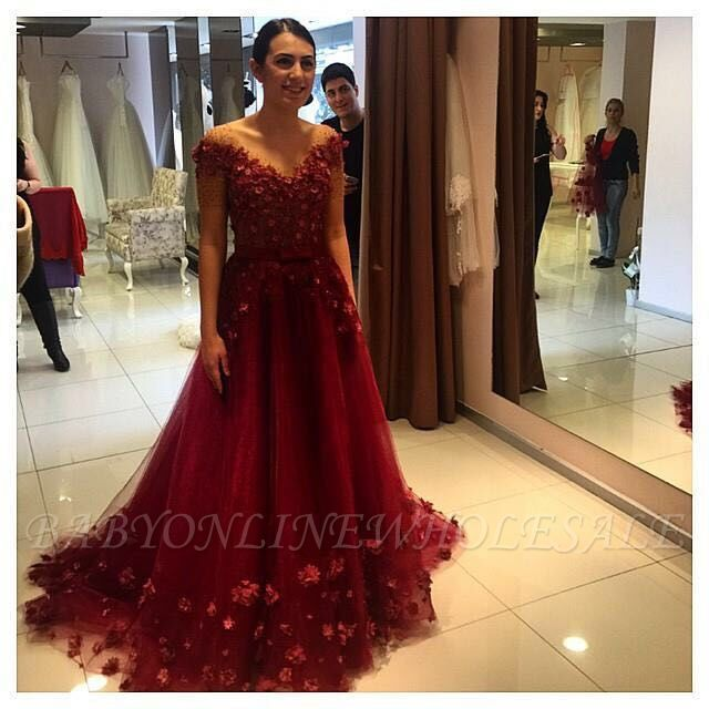 Gorgeous Off-the-Shoulder Burgundy A-Line Prom Dresses Tulle Appliques