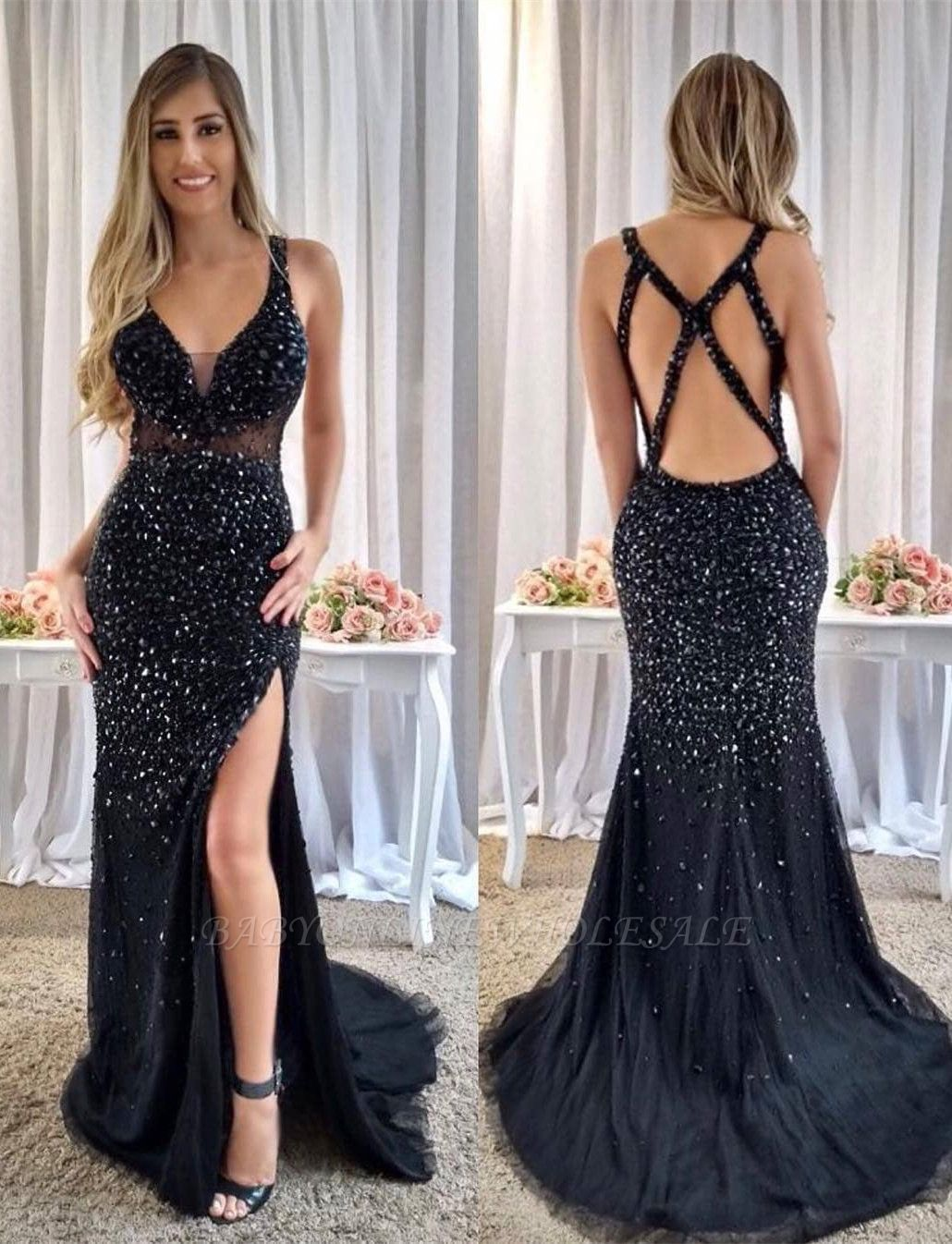 Gorgeous Crystals Mermaid Straps Prom Dress | Front Split Prom Dress