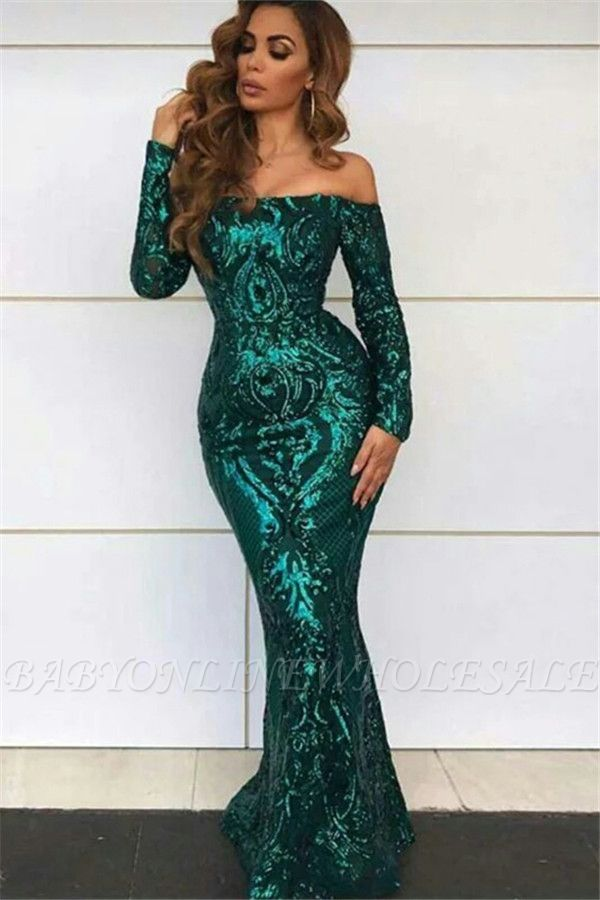 Off Shoulder Evening Dresses with Sleeves | Sexy Mermaid Sequins Prom Dresses BC0703