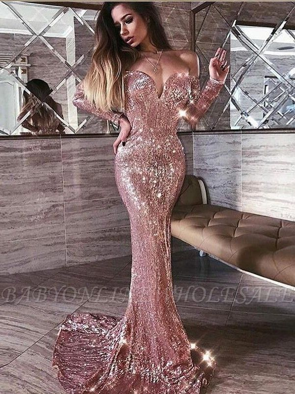 Mermaid Pink Shiny Sequined Strapless Off-the-Shoulder Long Sleeves Prom Dress
