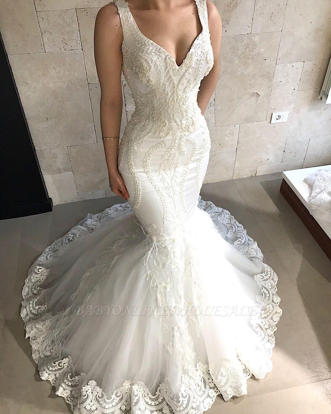 Träger Meerjungfrau Perlen Applikationen Brautkleider Günstige | Ärmellose Tüll Brautkleider 2019