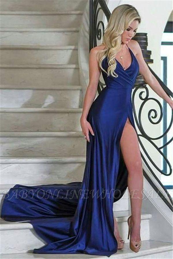 Royal Blue Column V-Neck Evening Dresses| Side Slit Affordable Formal Dresses