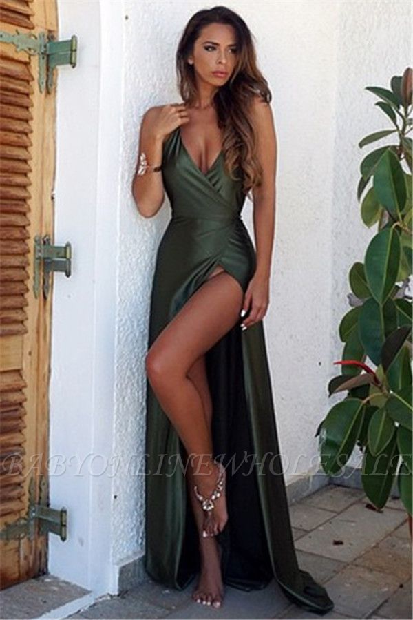 Elegant V-Neck Backless Split Elegant Long Prom Dress