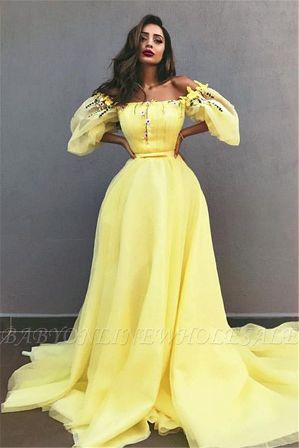 Yellow Off the Shoulder Half Sleeves Evening Dresses | New in Crystals Formal Dresses Online
