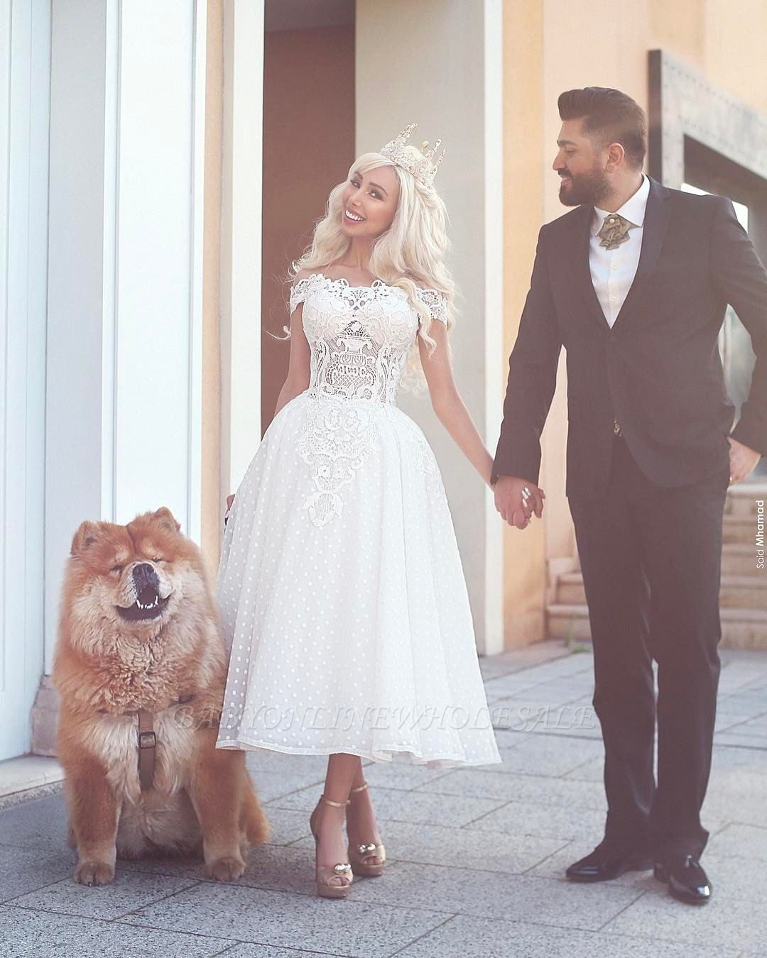 Off-the-Shoulder Ball-Gown White Wedding Dress