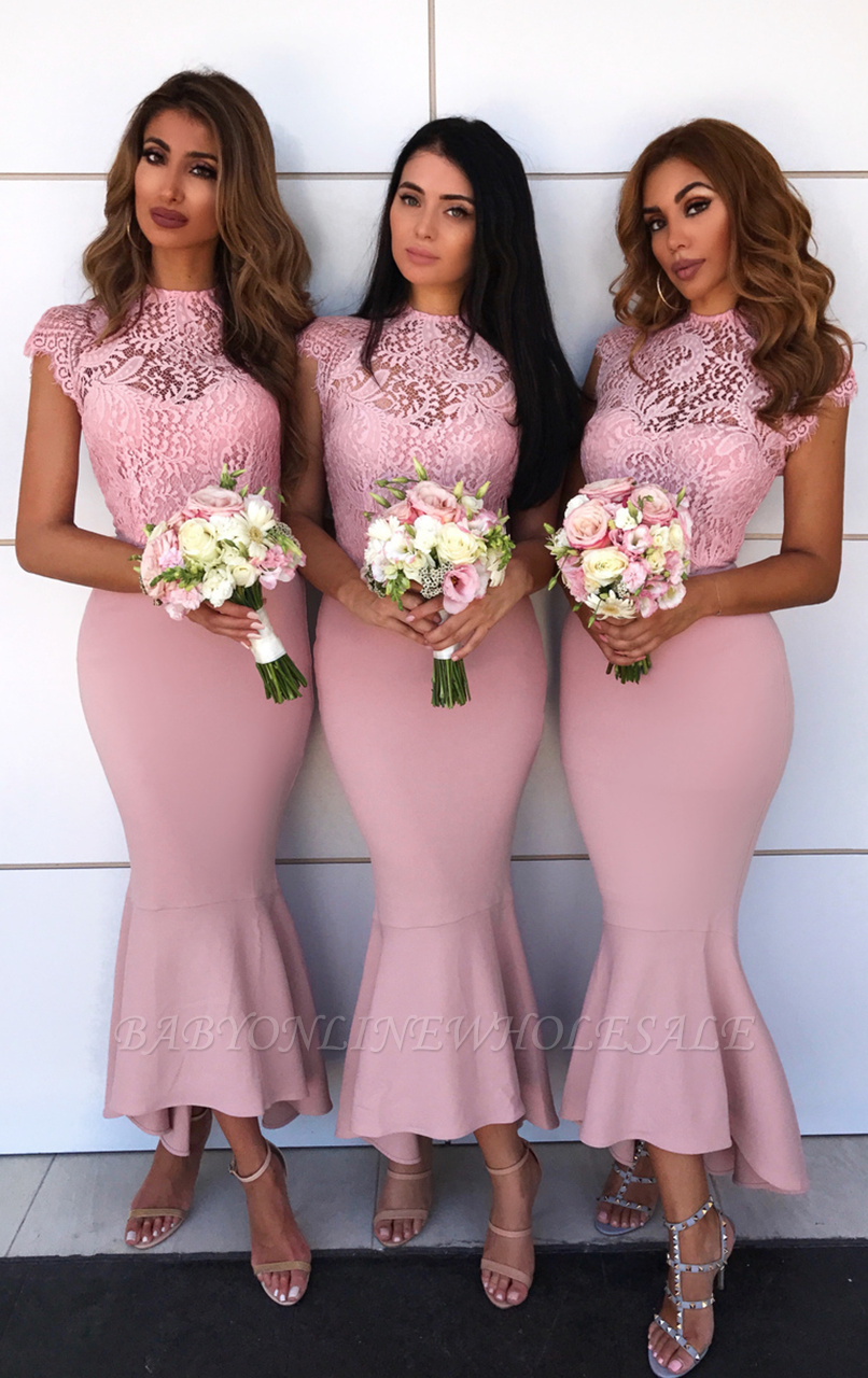 High Neck Pink Lace Bridesmaid Dresses Sexy | Cap Sleeve Mermaid Short Bridesmaid Dress Cheap ba9241