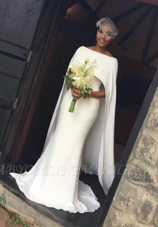 Elegant Shealth Cape Off-the-Shoulder Bridal-Gown Wedding Dresses