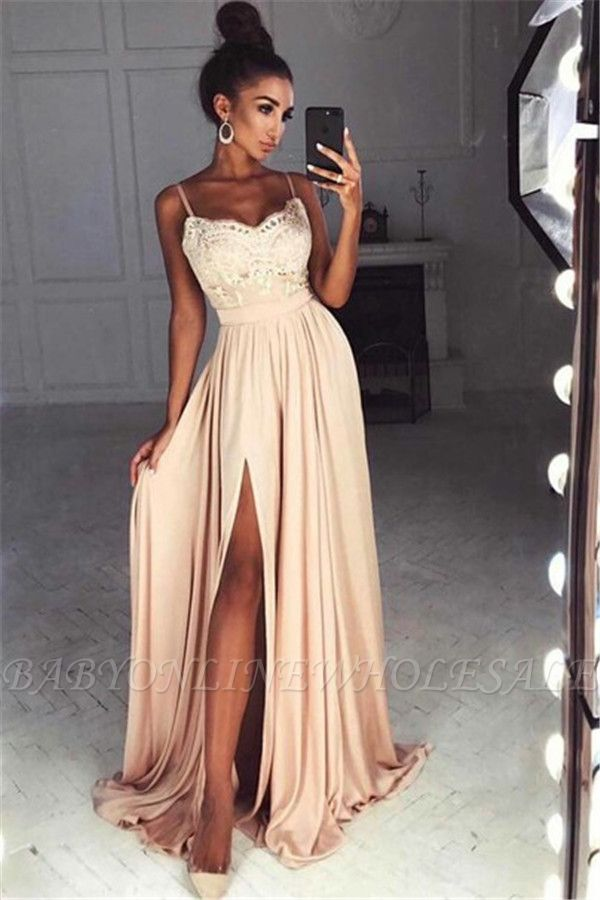 Gorgeous Spaghetti-Straps Lace Chiffon Long Split Prom Dress