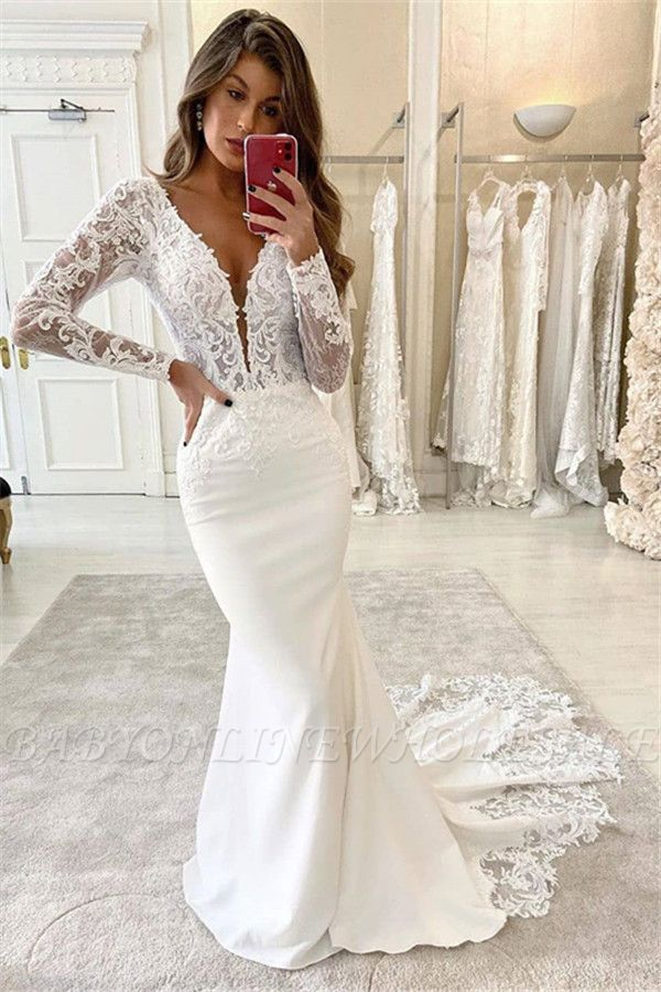 Mermaid V-Neck Lace Appliques Bridal Dress Long Sleeve Sexy Wedding Dress