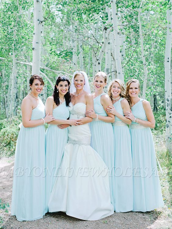 Fashion Mint Green One-Shoulder Chiffon Long Wedding Party Bridesmaid Dresses