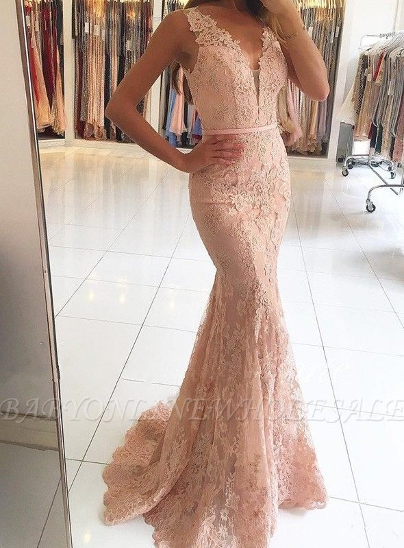 Mermaid Pink Lace Long Evening Dresses | Sleeveless Sheer Tulle Cheap Prom Dresses
