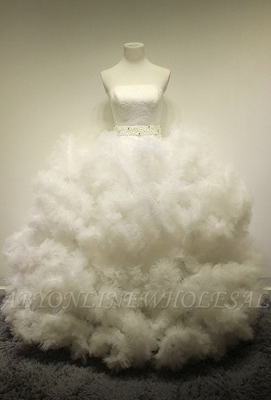 White Organza Lace Bridal Dresses Lace-Up Strapless Graceful Wedding Dresses