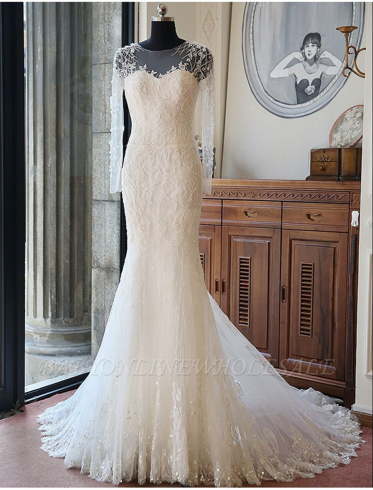 Vintage Long Sleeve Mermaid Tulle Bridal Gown New Arrival Court Train Wedding Dresses