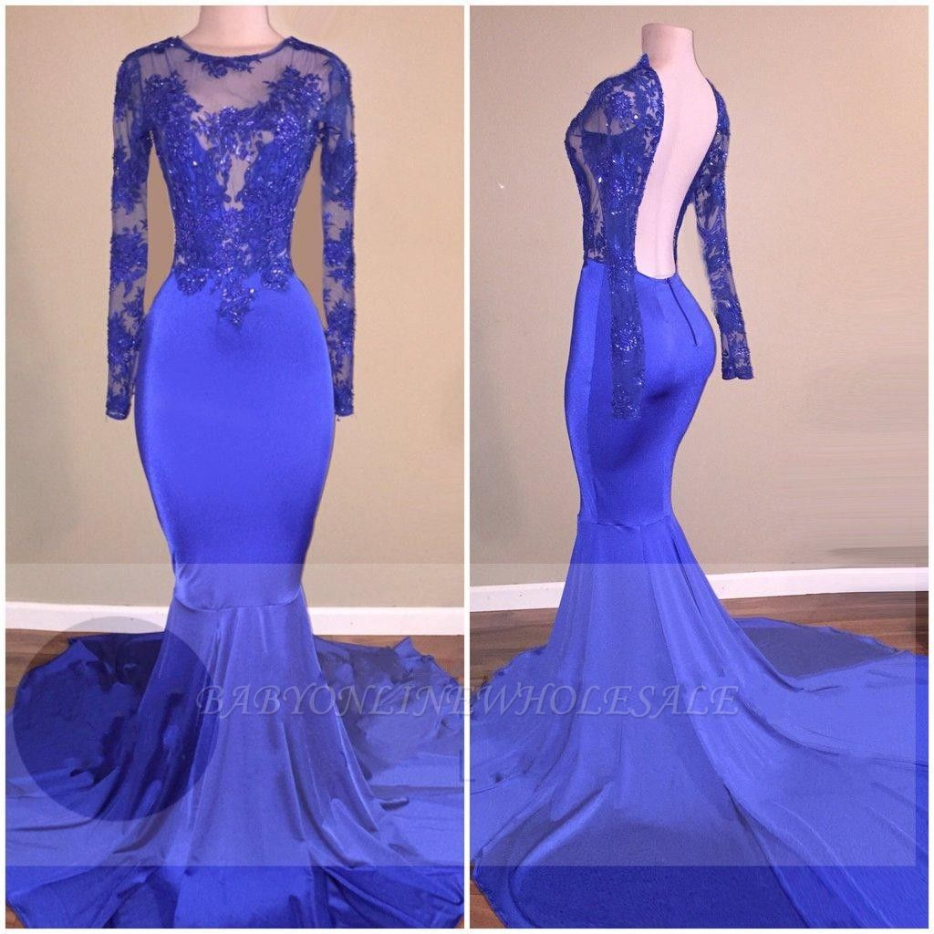 Elegante Abendkleider Lang Mit Ärmel  Blaues Abendkleid mit Spitze