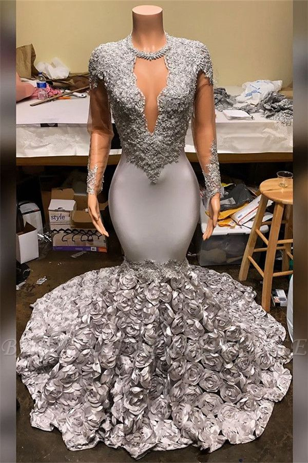 Silver Fit and Flare Floral Cheap Prom Dresses | Wholesale Lace Appliques Real Shooting Prom Dress
