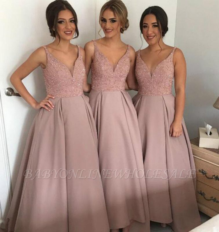 Gorgeous A-Line Soft Pink Beading Bridesmaid Dresses Natural Sleeveless Long Women Dresses