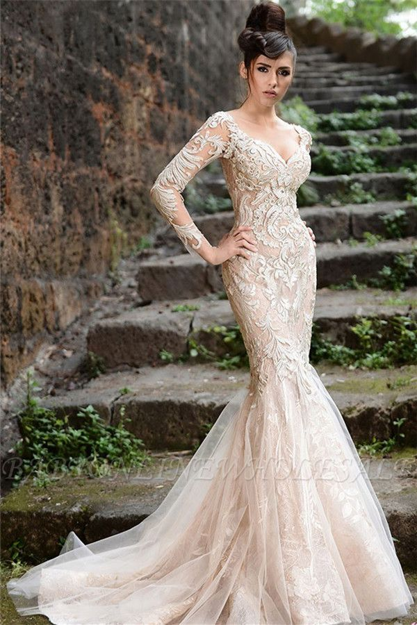Mermaid Long Sleeve Ivory Lace Wedding Dresses | Sexy Sheer Tulle See Through Back Evening Dresses