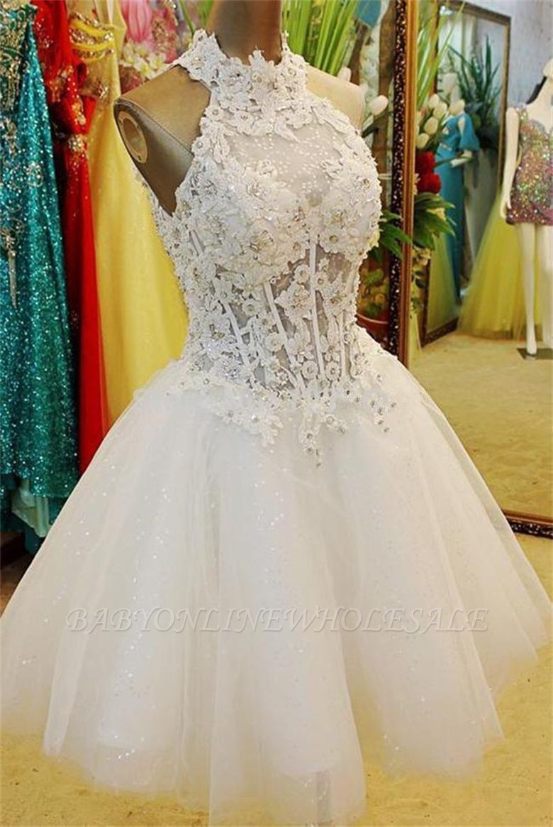 A-Line Halter White Mini Wedding Dress New Arrival Lace Flower Short Tulle Bridal Gowns BA7308