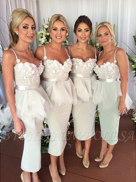 Delicate Appliques Mermaid Bridesmaid Dress Spaghetti Strap Ruffles