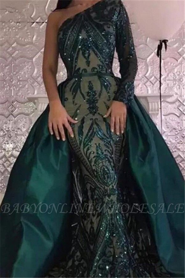 Emerald green One Shoulder Sequins Evening Dresses with Overskirt | Elegant Long sleeves Mermaid Prom Dresses BA7441