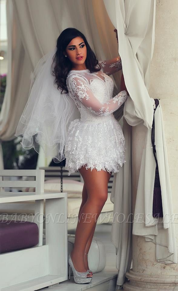 Mini Long Sleeve Lace Wedding Dresses Scoop A-Line Sexy Bridal Gowns