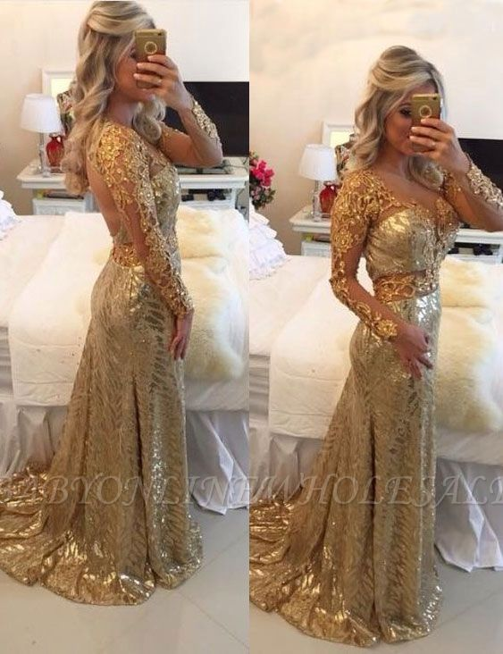 5c7393e8bb1 Delicate Long Sleeve Mermaid Backless Lace Appliques Prom Dress ...
