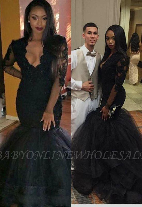 Sexy Black Long-sleeve Mermaid V-neck Lace Sweep-Train Prom Dress