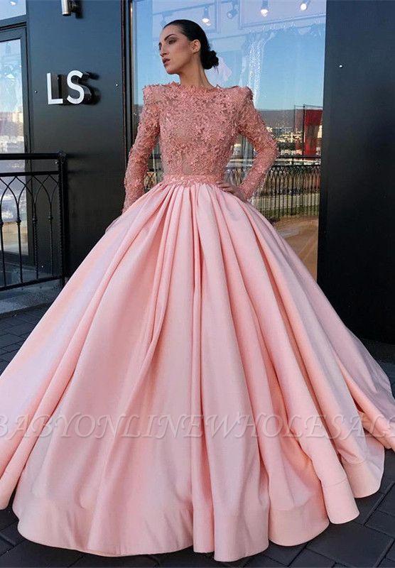 Vestido de baile rosa de manga larga con vestido de fiesta | Apliques rosa vestidos de noche