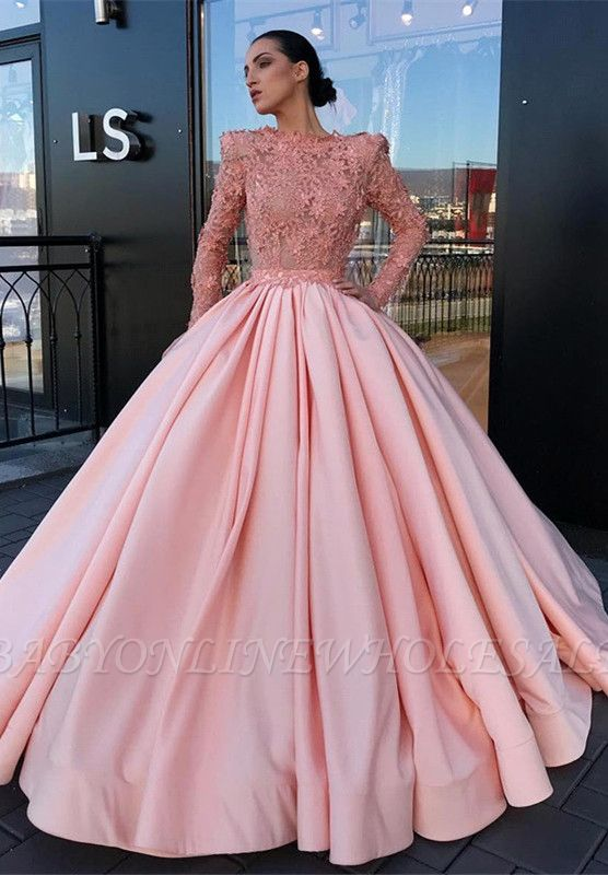 Long Sleeve Ball Gown Pink Prom Dress | Appliques Pink Evening Gowns